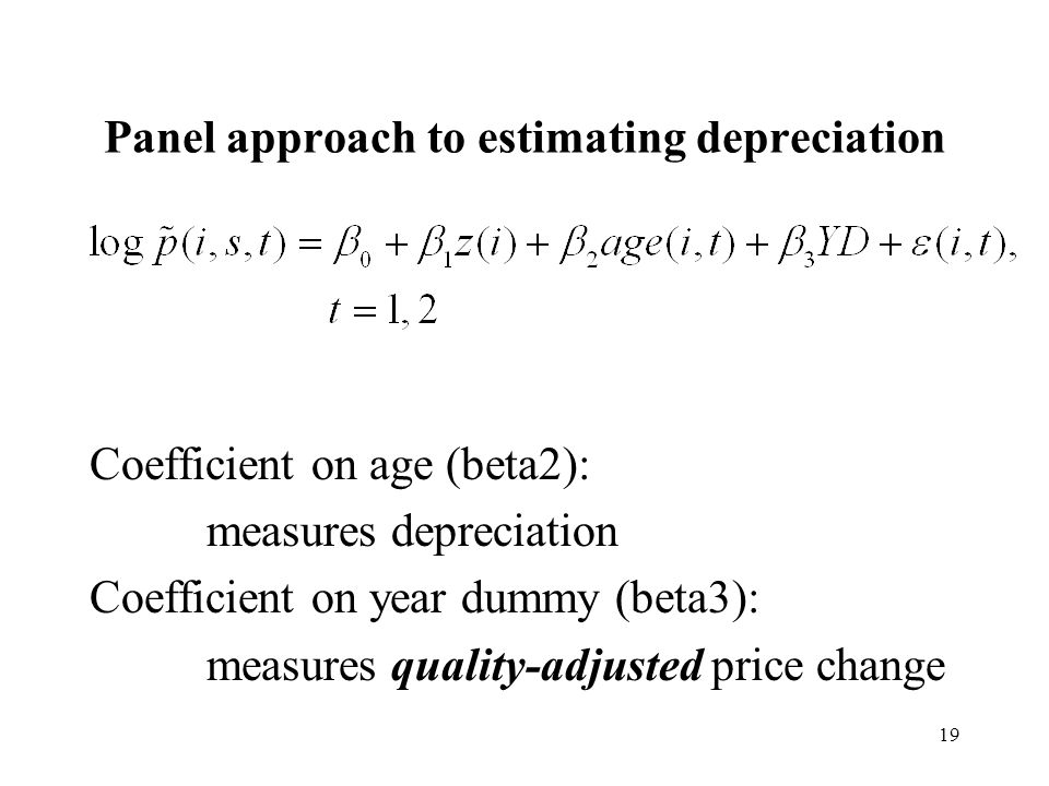 19 Panel approach to estimating depreciation Coefficient on age (beta2): measures depreciation Coefficient on year dummy (beta3): measures quality-adjusted price change