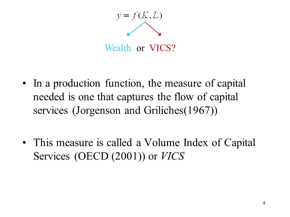 4 In a production function, the measure of capital needed is one that captures the flow of capital services (Jorgenson and Griliches(1967)) This measure is called a Volume Index of Capital Services (OECD (2001)) or VICS Wealth or VICS