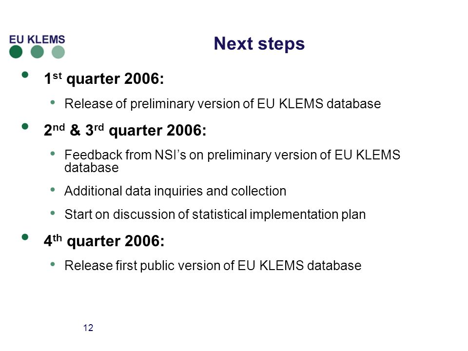12 Next steps 1 st quarter 2006: Release of preliminary version of EU KLEMS database 2 nd & 3 rd quarter 2006: Feedback from NSIs on preliminary version of EU KLEMS database Additional data inquiries and collection Start on discussion of statistical implementation plan 4 th quarter 2006: Release first public version of EU KLEMS database