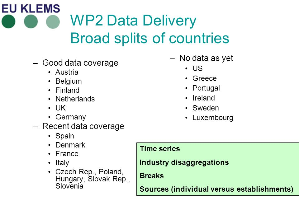 WP2 Data Delivery Broad splits of countries –Good data coverage Austria Belgium Finland Netherlands UK Germany –Recent data coverage Spain Denmark France Italy Czech Rep., Poland, Hungary, Slovak Rep., Slovenia –No data as yet US Greece Portugal Ireland Sweden Luxembourg Time series Industry disaggregations Breaks Sources (individual versus establishments)