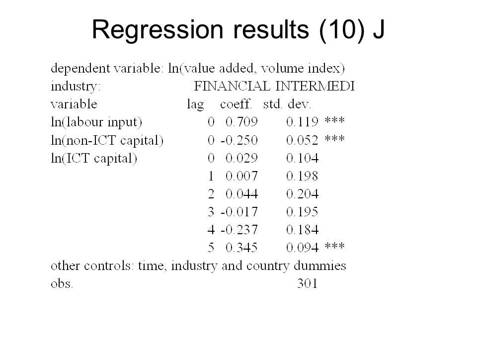 Regression results (10) J