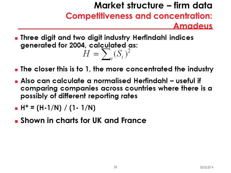 23 02.02.2014 Market structure – firm data Competitiveness and concentration: Amadeus Three digit and two digit industry Herfindahl indices generated for 2004, calculated as: The closer this is to 1, the more concentrated the industry Also can calculate a normalised Herfindahl – useful if comparing companies across countries where there is a possibly of different reporting rates H* = (H-1/N) / (1- 1/N) Shown in charts for UK and France