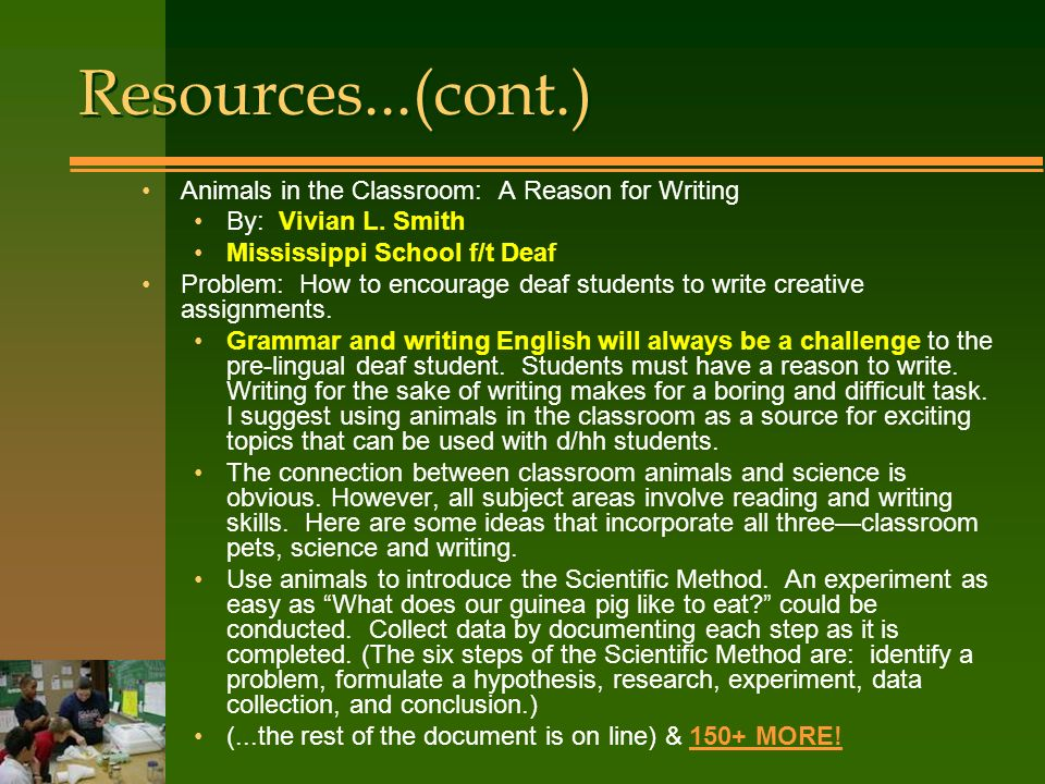 Animals in the Classroom: A Reason for Writing By: Vivian L.