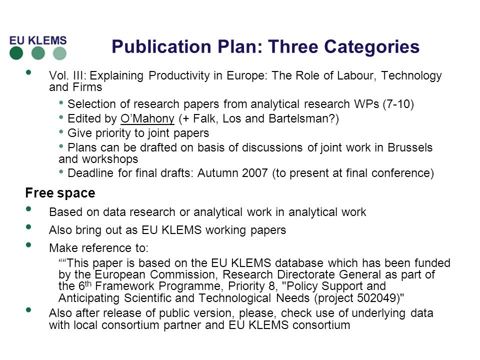 8 Publication Plan: Three Categories Vol.
