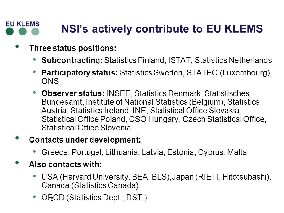 3 NSIs actively contribute to EU KLEMS Three status positions: Subcontracting: Statistics Finland, ISTAT, Statistics Netherlands Participatory status: Statistics Sweden, STATEC (Luxembourg), ONS Observer status: INSEE, Statistics Denmark, Statistisches Bundesamt, Institute of National Statistics (Belgium), Statistics Austria, Statistics Ireland, INE, Statistical Office Slovakia, Statistical Office Poland, CSO Hungary, Czech Statistical Office, Statistical Office Slovenia Contacts under development: Greece, Portugal, Lithuania, Latvia, Estonia, Cyprus, Malta Also contacts with: USA (Harvard University, BEA, BLS),Japan (RIETI, Hitotsubashi), Canada (Statistics Canada) OECD (Statistics Dept., DSTI)