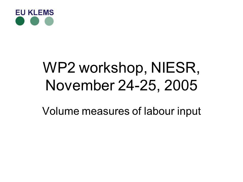 WP2 workshop, NIESR, November 24-25, 2005 Volume measures of labour input