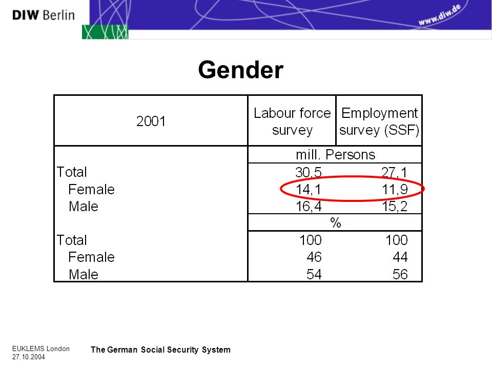 EUKLEMS London The German Social Security System Gender