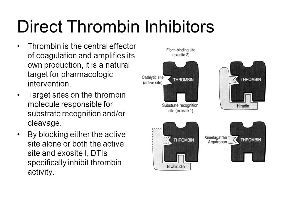 Direct Thrombin Inhibitors Thrombin is the central effector of coagulation and amplifies its own production, it is a natural target for pharmacologic