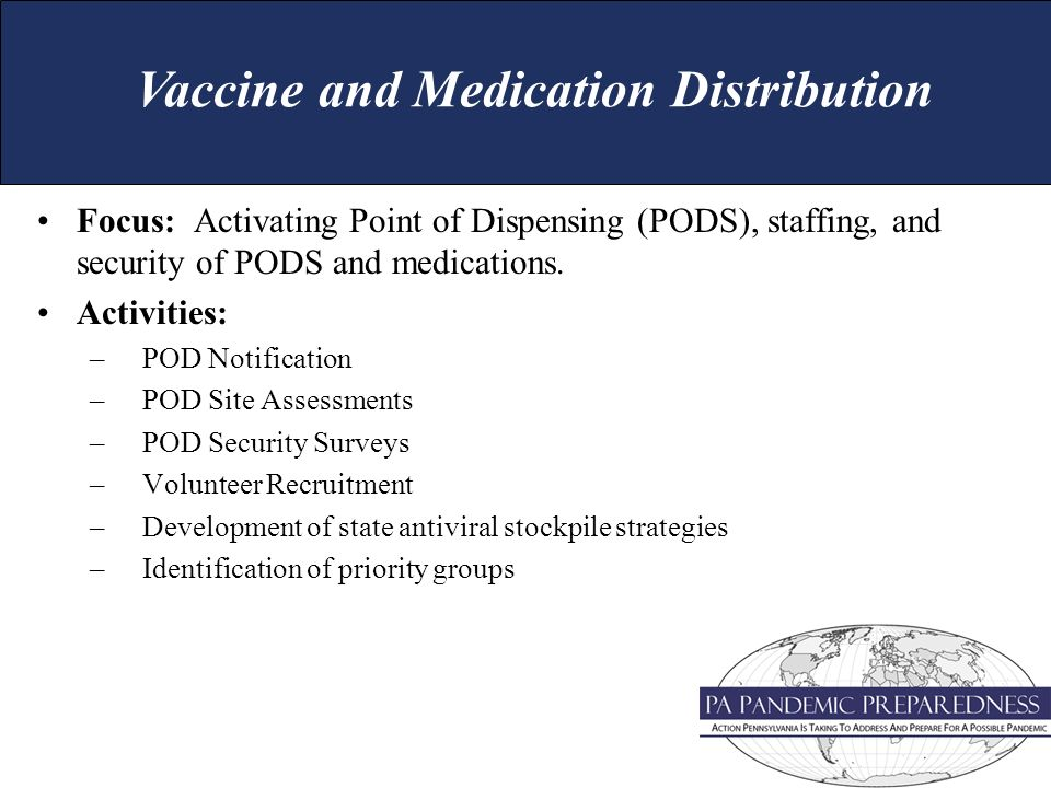 Focus: Activating Point of Dispensing (PODS), staffing, and security of PODS and medications.