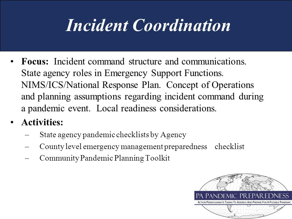 Focus: Incident command structure and communications.