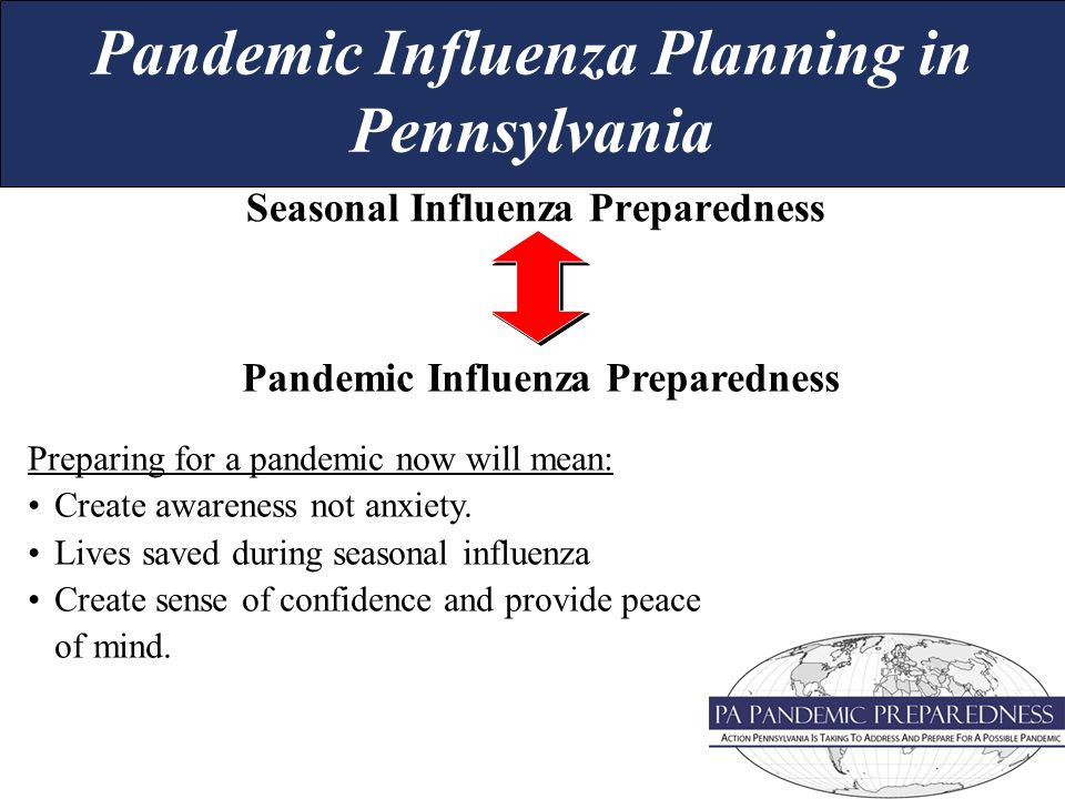 Seasonal Influenza Preparedness Pandemic Influenza Preparedness Preparing for a pandemic now will mean: Create awareness not anxiety.