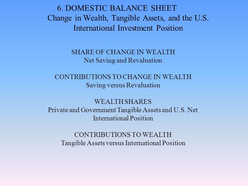 6. DOMESTIC BALANCE SHEET Change in Wealth, Tangible Assets, and the U.S. International Investment Position SHARE OF CHANGE IN WEALTH Net Saving and R