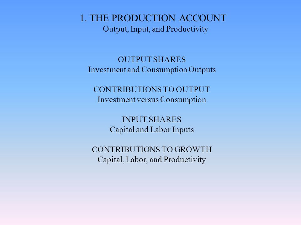 1. THE PRODUCTION ACCOUNT Output, Input, and Productivity OUTPUT SHARES Investment and Consumption Outputs CONTRIBUTIONS TO OUTPUT Investment versus C