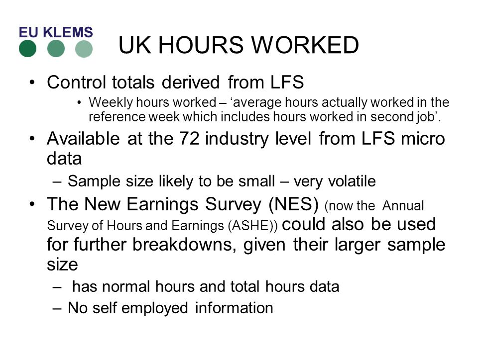 UK HOURS WORKED Control totals derived from LFS Weekly hours worked – average hours actually worked in the reference week which includes hours worked in second job.