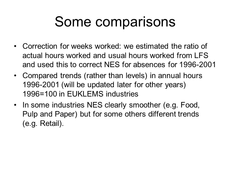Some comparisons Correction for weeks worked: we estimated the ratio of actual hours worked and usual hours worked from LFS and used this to correct NES for absences for Compared trends (rather than levels) in annual hours (will be updated later for other years) 1996=100 in EUKLEMS industries In some industries NES clearly smoother (e.g.