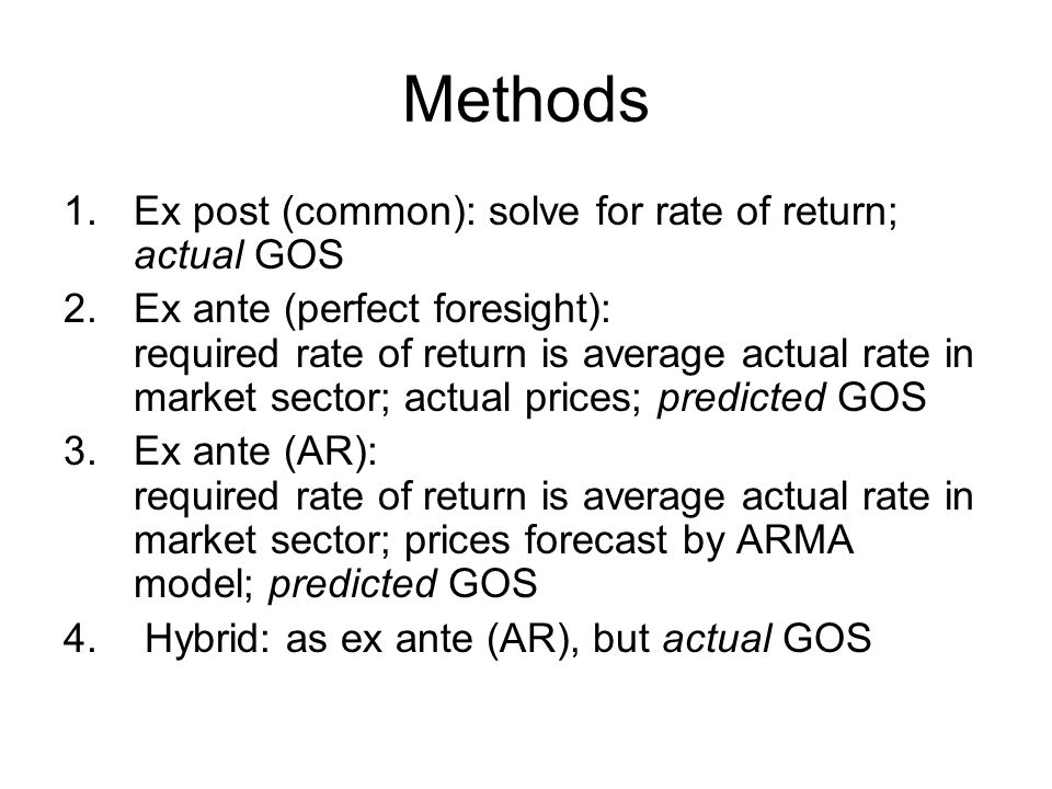 Methods 1.Ex post (common): solve for rate of return; actual GOS 2.Ex ante (perfect foresight): required rate of return is average actual rate in market sector; actual prices; predicted GOS 3.Ex ante (AR): required rate of return is average actual rate in market sector; prices forecast by ARMA model; predicted GOS 4.