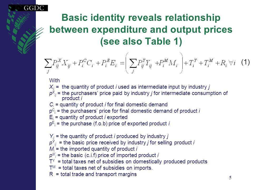 6 Relationship between O-PPPs and adjusted E-PPPs (1) Assumption 1: basic price of a product i is equal in all its uses: Assumption 2: trade, transport margins and taxes of product i do not depend on their uses: Result 1: basic output price of supplied product i equals final expenditure price adjusted for net average taxes and margins: (6)
