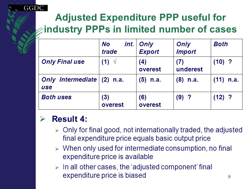 9 Adjusted Expenditure PPP useful for industry PPPs in limited number of cases Result 4: Only for final good, not internationally traded, the adjusted
