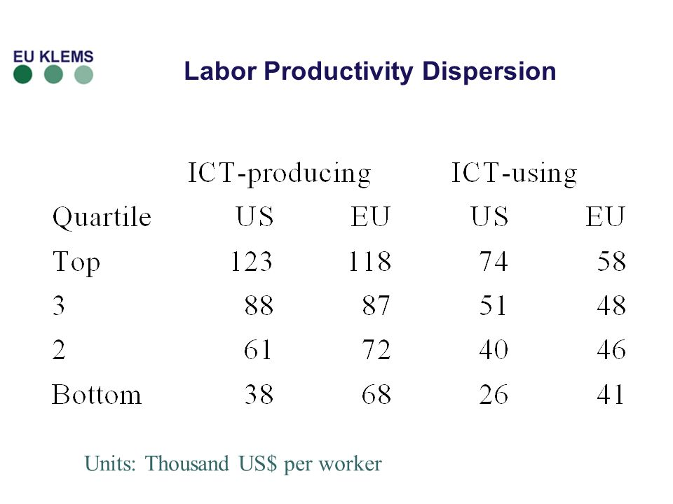 Labor Productivity Dispersion Units: Thousand US$ per worker