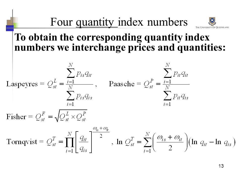 13 Four quantity index numbers To obtain the corresponding quantity index numbers we interchange prices and quantities: