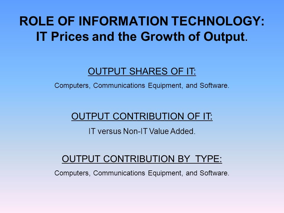 ROLE OF INFORMATION TECHNOLOGY: IT Prices and the Growth of Output.
