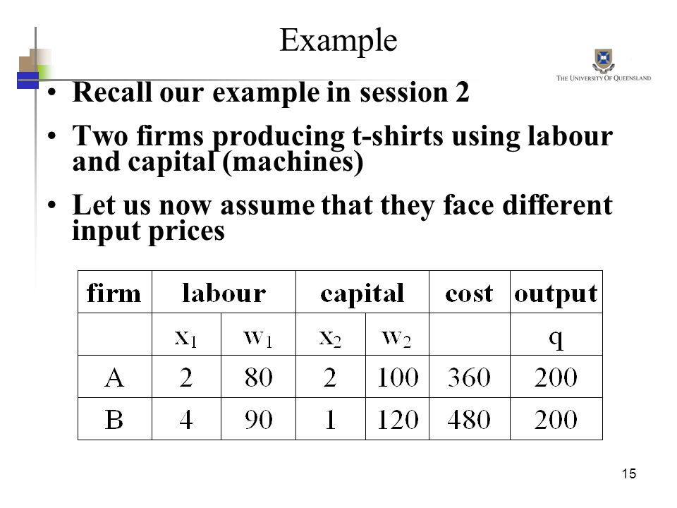 15 Example Recall our example in session 2 Two firms producing t-shirts using labour and capital (machines) Let us now assume that they face different