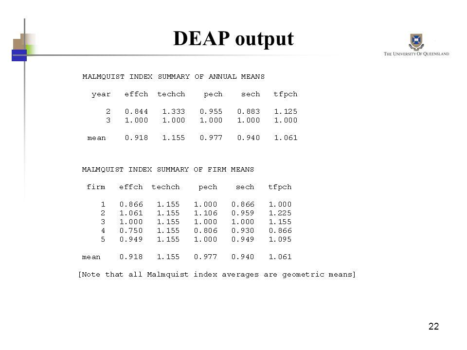 22 DEAP output