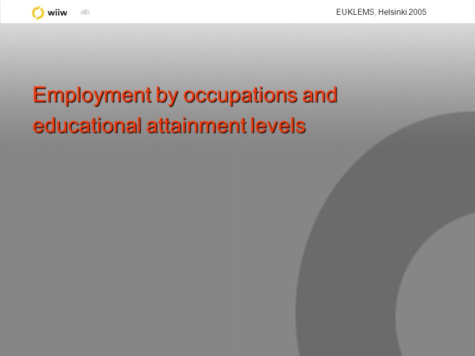 18 EUKLEMS, Helsinki 2005 Employment by occupations and educational attainment levels