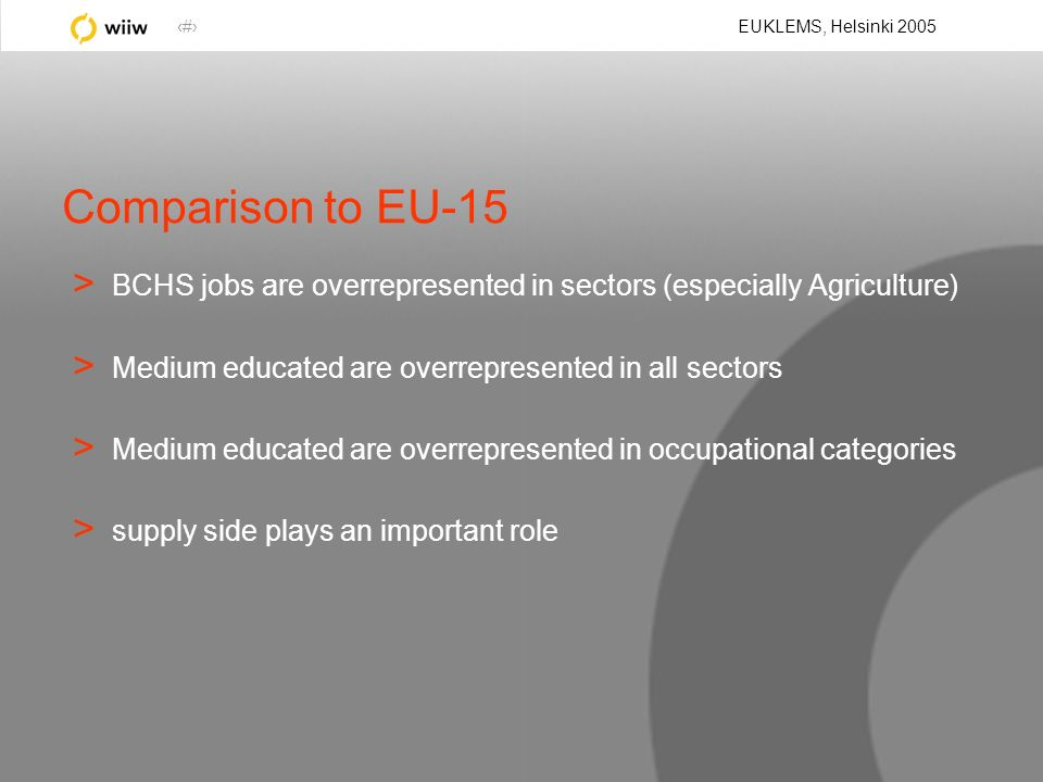 23 EUKLEMS, Helsinki 2005 Comparison to EU-15 > BCHS jobs are overrepresented in sectors (especially Agriculture) > Medium educated are overrepresented in all sectors > Medium educated are overrepresented in occupational categories > supply side plays an important role