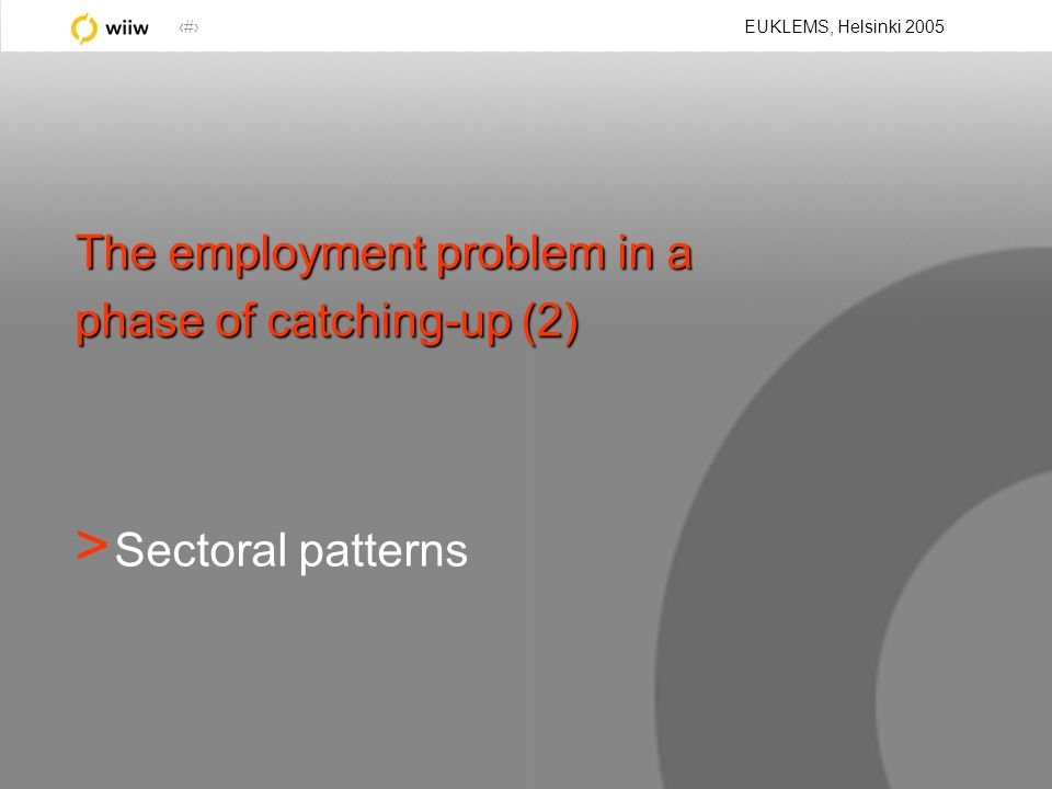 9 EUKLEMS, Helsinki 2005 The employment problem in a phase of catching-up (2) > Sectoral patterns