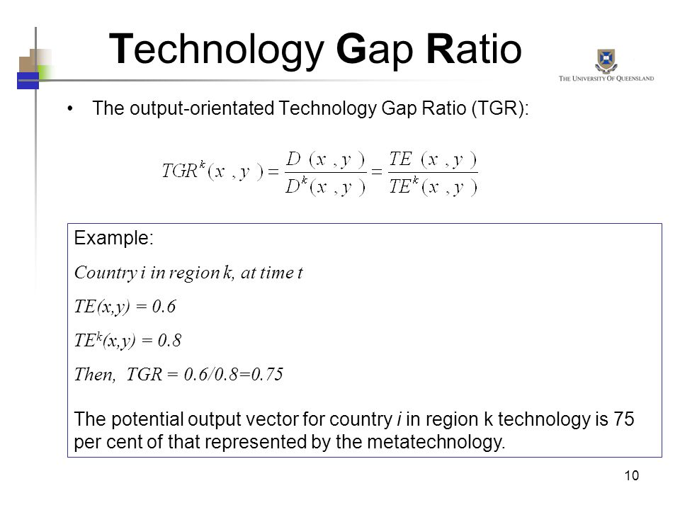 10 Technology Gap Ratio The output-orientated Technology Gap Ratio (TGR): Example: Country i in region k, at time t TE(x,y) = 0.6 TE k (x,y) = 0.8 The