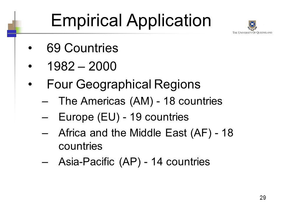 29 Empirical Application 69 Countries 1982 – 2000 Four Geographical Regions –The Americas (AM) - 18 countries –Europe (EU) - 19 countries –Africa and