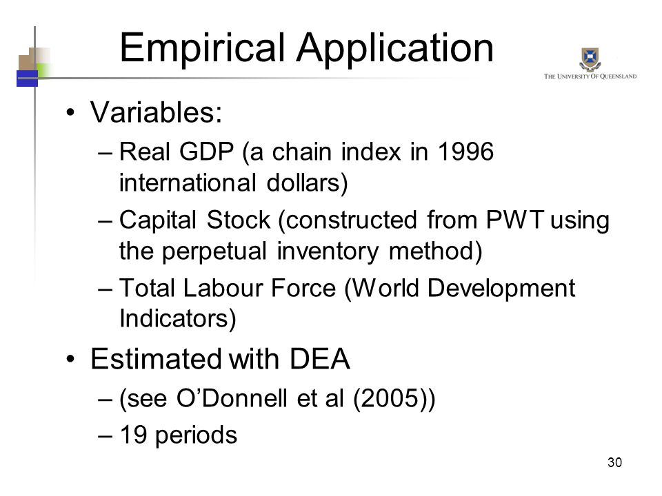 30 Variables: –Real GDP (a chain index in 1996 international dollars) –Capital Stock (constructed from PWT using the perpetual inventory method) –Tota