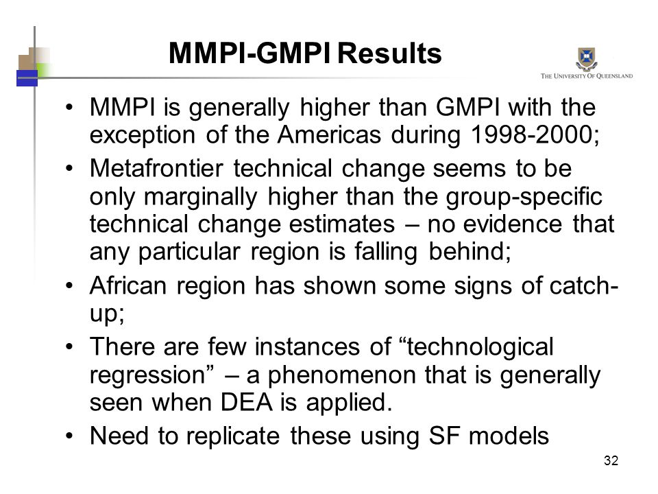 32 MMPI is generally higher than GMPI with the exception of the Americas during 1998-2000; Metafrontier technical change seems to be only marginally h
