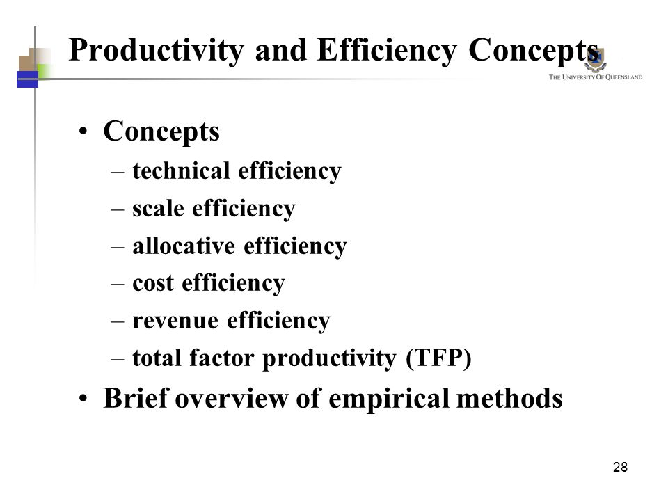 28 Productivity and Efficiency Concepts Concepts –technical efficiency –scale efficiency –allocative efficiency –cost efficiency –revenue efficiency –