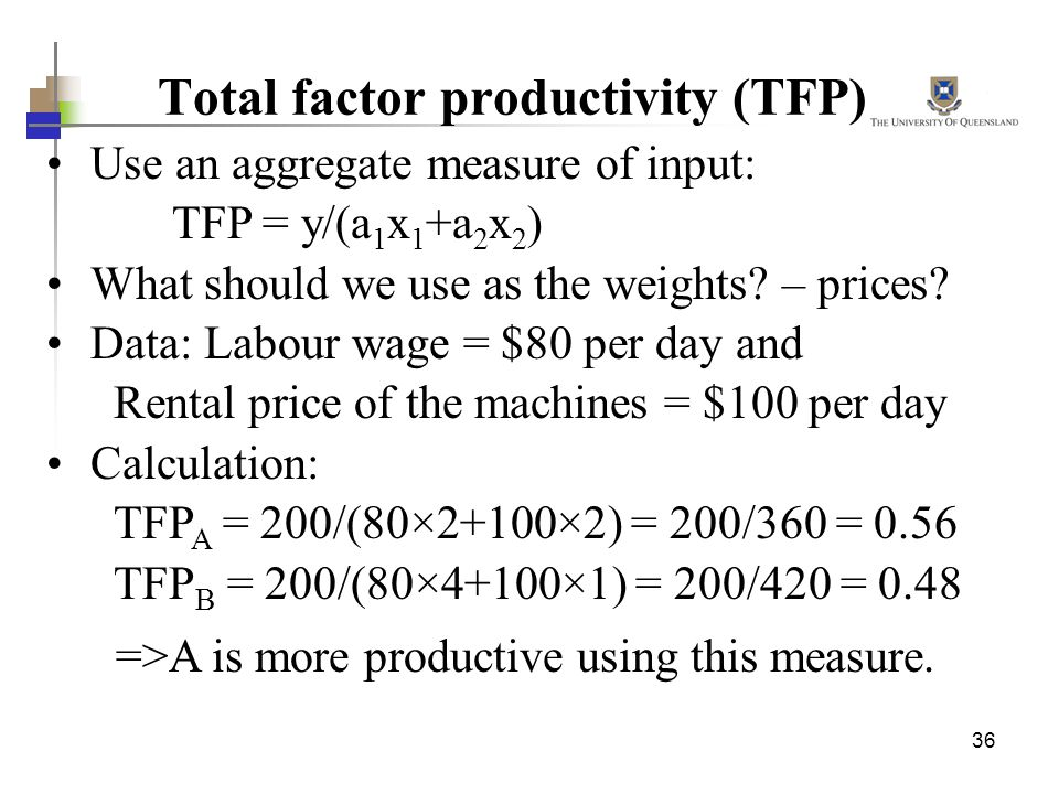 36 Total factor productivity (TFP) Use an aggregate measure of input: TFP = y/(a 1 x 1 +a 2 x 2 ) What should we use as the weights? – prices? Data: L