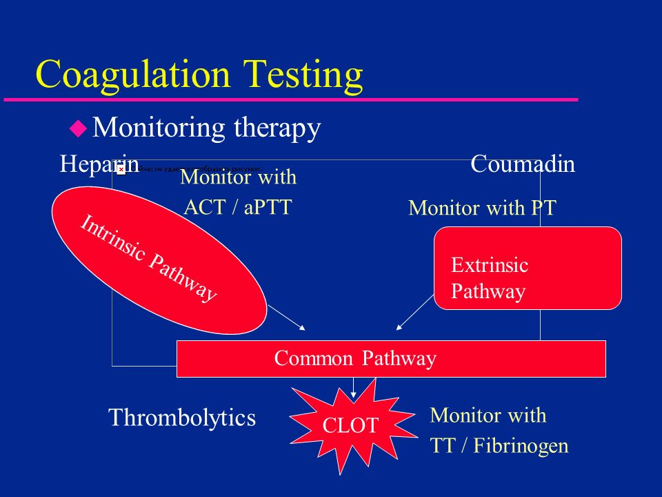 Coagulation Testing u Monitoring therapy Intrinsic Pathway Extrinsic Pathway Common Pathway CLOT Heparin Coumadin Monitor with ACT / aPTT Monitor with
