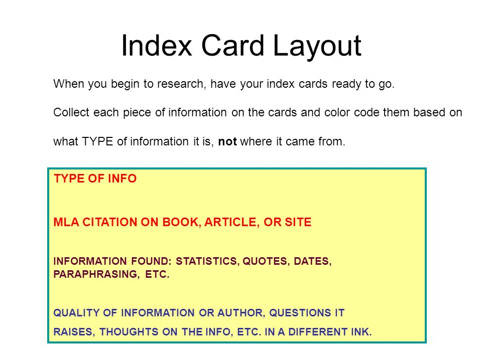 Index Card Layout When you begin to research, have your index cards ready to go.