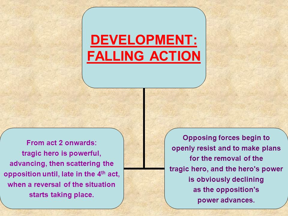 DEVELOPMENT: FALLING ACTION From act 2 onwards: tragic hero is powerful, advancing, then scattering the opposition until, late in the 4 th act, when a reversal of the situation starts taking place.