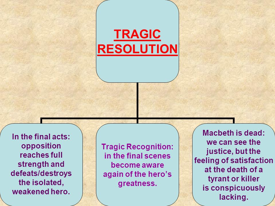 TRAGIC RESOLUTION In the final acts: opposition reaches full strength and defeats/destroys the isolated, weakened hero.