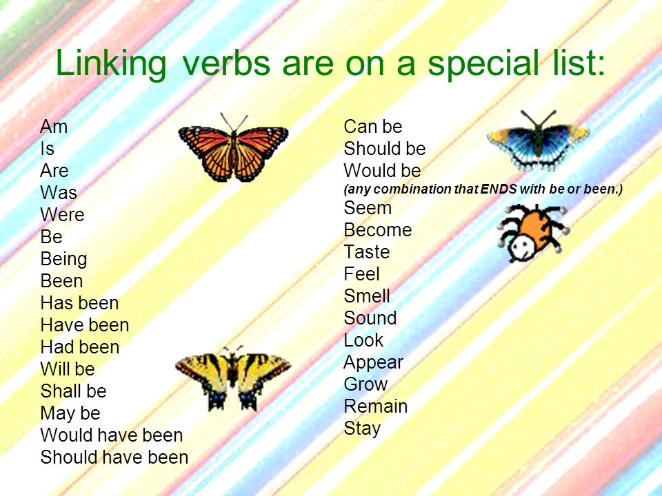 Linking verbs are on a special list: Am Is Are Was Were Be Being Been Has been Have been Had been Will be Shall be May be Would have been Should have