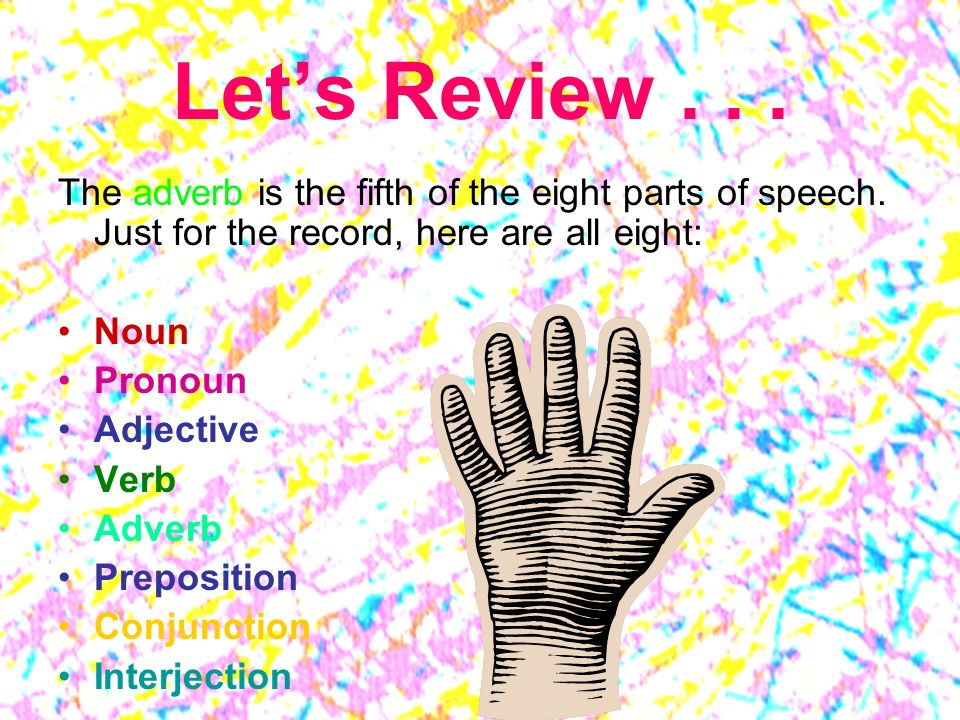Lets Review...The adverb is the fifth of the eight parts of speech.