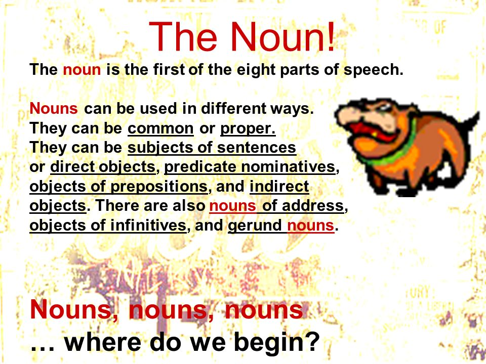 The Noun! The noun is the first of the eight parts of speech. Nouns can be used in different ways. They can be common or proper. They can be subjects