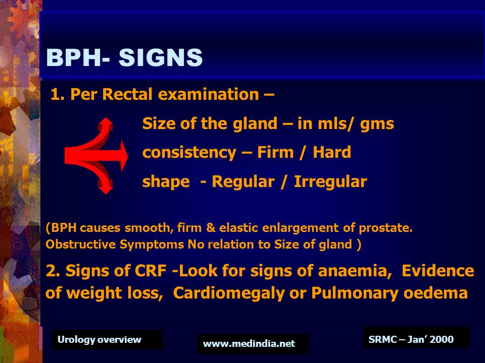 Urology overview www.medindia.net SRMC – Jan 2000 BPH- SIGNS 1. Per Rectal examination – Size of the gland – in mls/ gms consistency – Firm / Hard sha