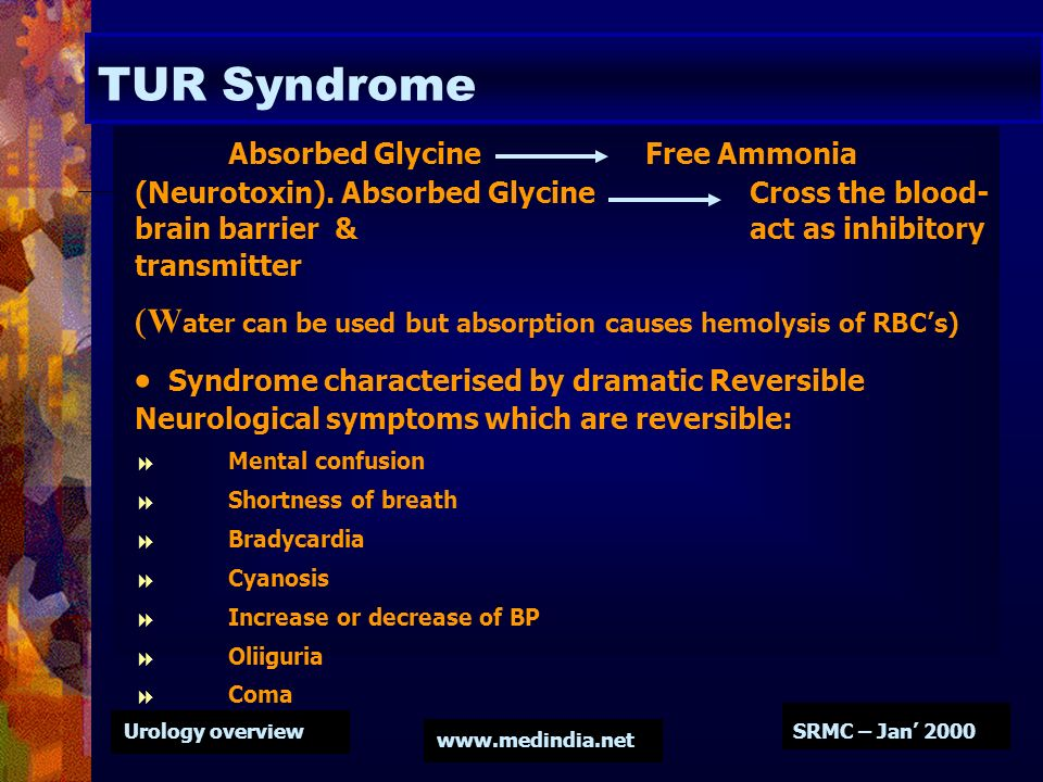 Urology overview www.medindia.net SRMC – Jan 2000 TUR Syndrome Absorbed Glycine Free Ammonia (Neurotoxin). Absorbed Glycine Cross the blood- brain bar