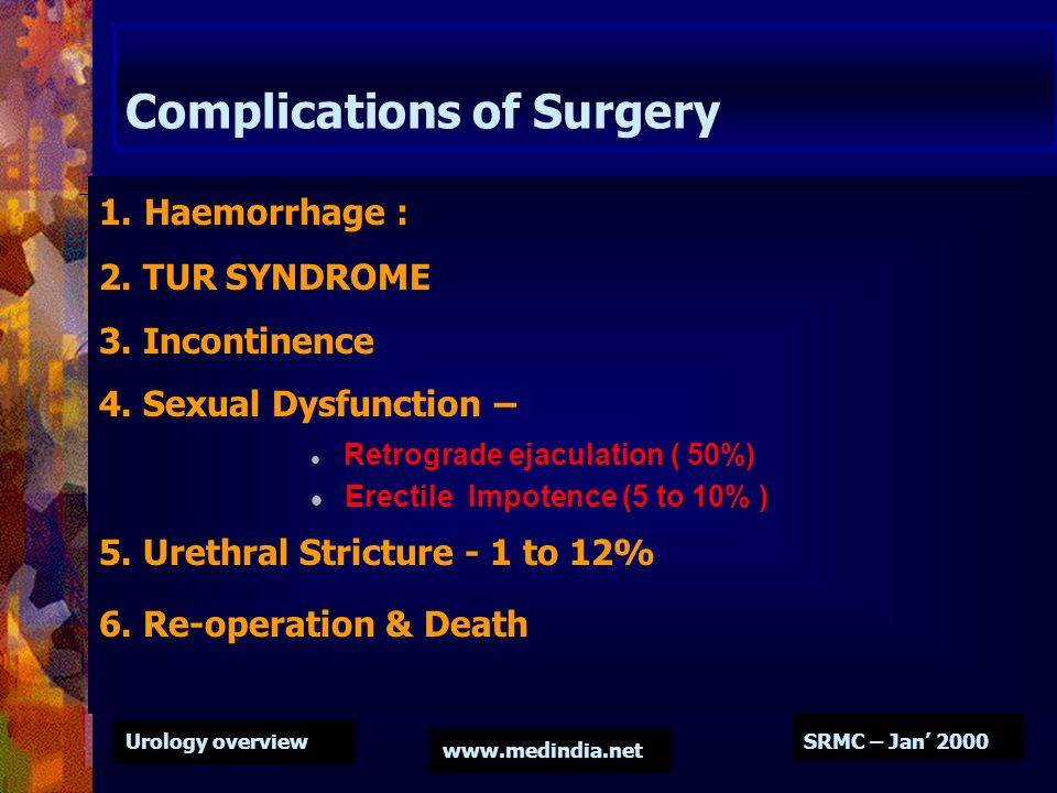 Urology overview www.medindia.net SRMC – Jan 2000 Complications of Surgery 1. Haemorrhage : 2. TUR SYNDROME 3. Incontinence 4. Sexual Dysfunction – Re