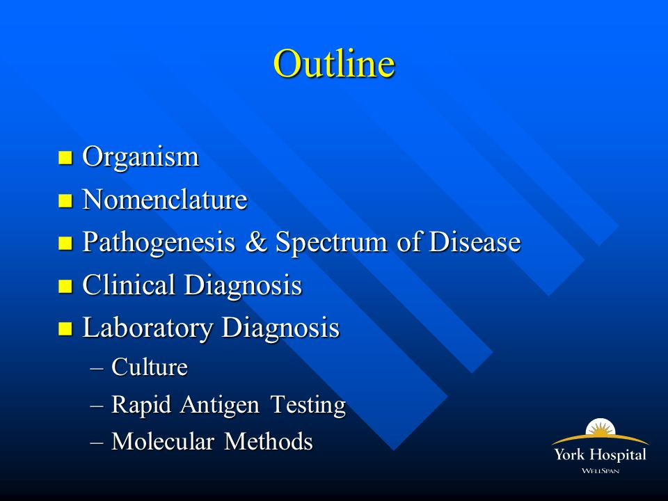 Outline n Organism n Nomenclature n Pathogenesis & Spectrum of Disease n Clinical Diagnosis n Laboratory Diagnosis –Culture –Rapid Antigen Testing –Molecular Methods