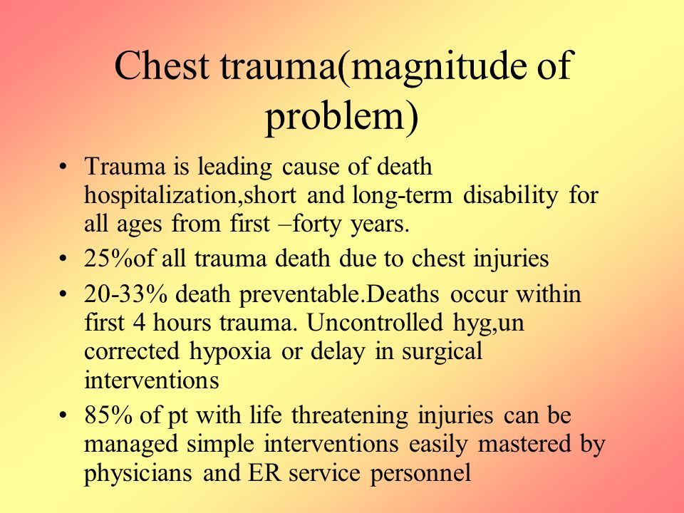 Chest trauma(magnitude of problem) Trauma is leading cause of death hospitalization,short and long-term disability for all ages from first –forty years.