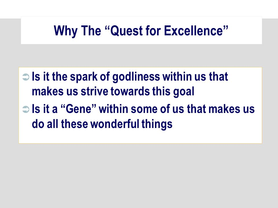 Why The Quest for Excellence Is it the spark of godliness within us that makes us strive towards this goal Is it a Gene within some of us that makes u