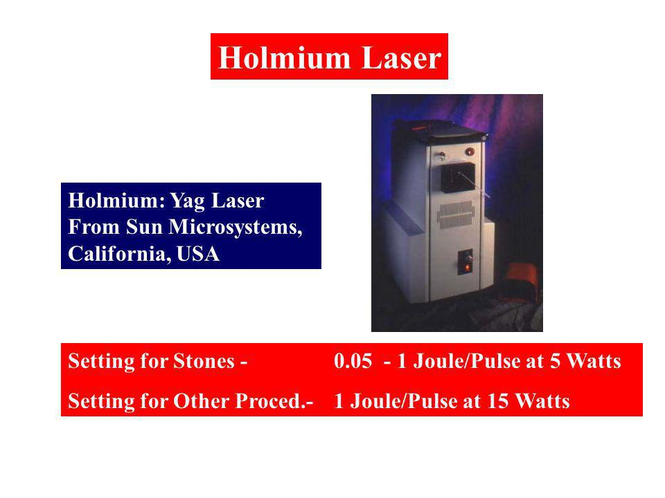 Holmium: Yag Laser From Sun Microsystems, California, USA Holmium Laser Setting for Stones -0.05 - 1 Joule/Pulse at 5 Watts Setting for Other Proced.-1 Joule/Pulse at 15 Watts